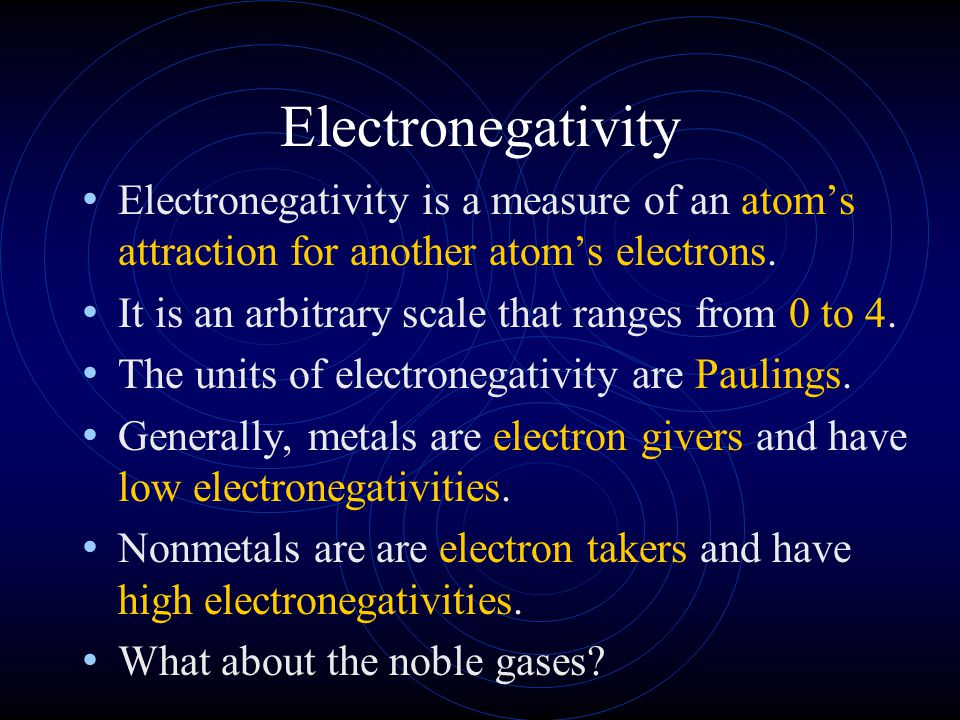 Electronegativity Electronegativity is a measure of an atom's attraction for another atom's electrons.