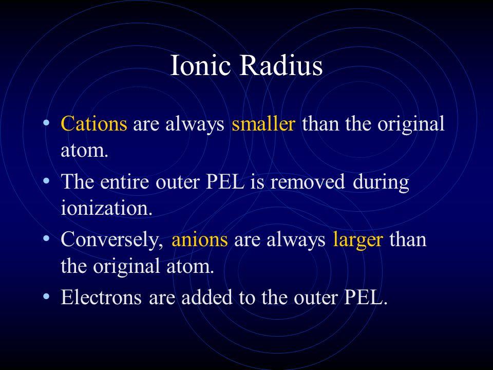 Ionic Radius Cations are always smaller than the original atom.