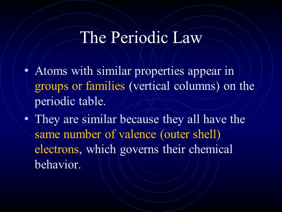 The Periodic Law Atoms with similar properties appear in groups or families (vertical columns) on the periodic table.