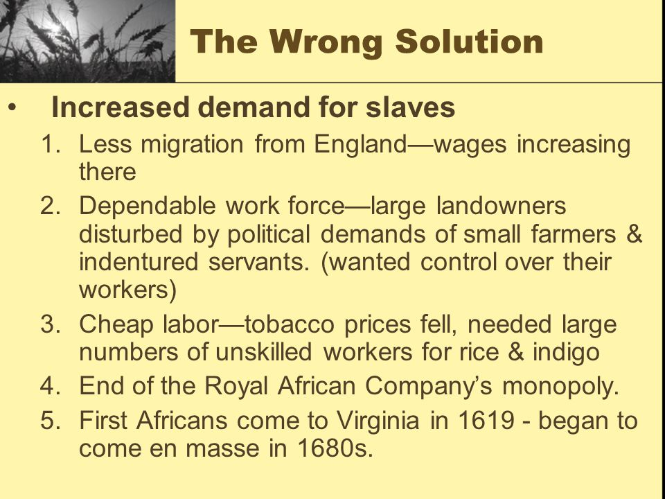The Wrong Solution Increased demand for slaves