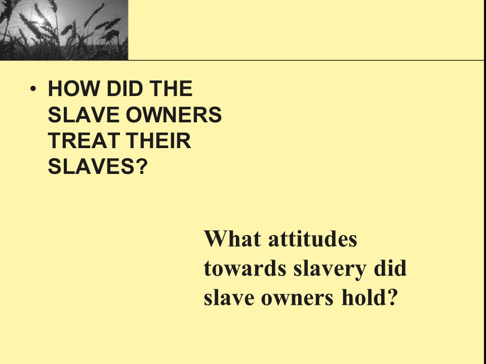 What attitudes towards slavery did slave owners hold
