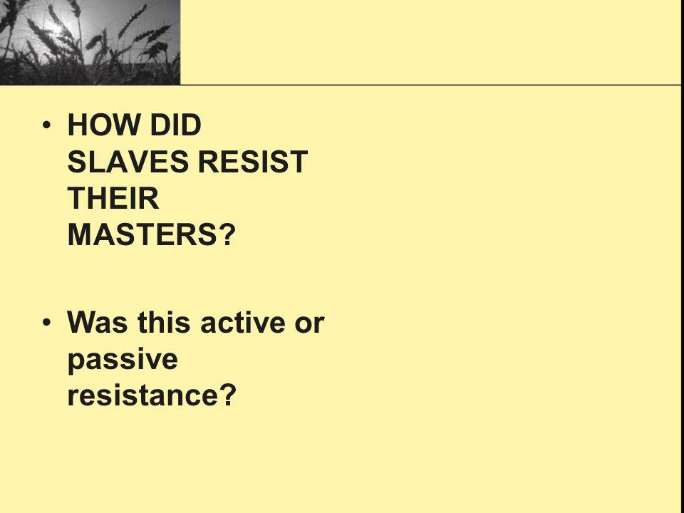 HOW DID SLAVES RESIST THEIR MASTERS