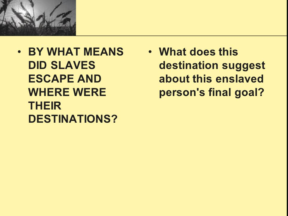 BY WHAT MEANS DID SLAVES ESCAPE AND WHERE WERE THEIR DESTINATIONS