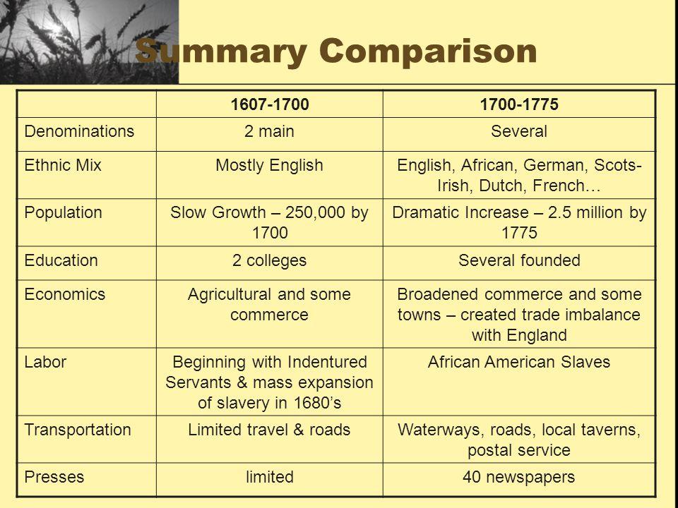 Summary Comparison 1607-1700 1700-1775 Denominations 2 main Several