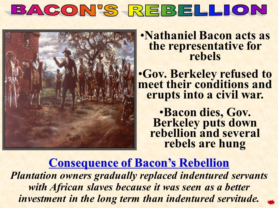 Nathaniel Bacon acts as the representative for rebels
