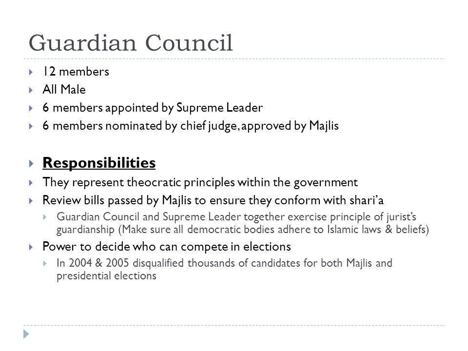 Guardian Council Responsibilities 12 members All Male