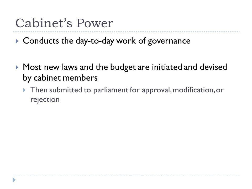 Cabinet's Power Conducts the day-to-day work of governance