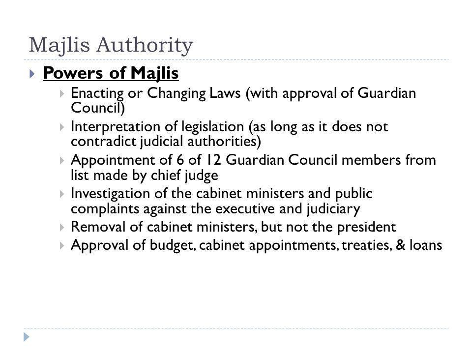 Majlis Authority Powers of Majlis