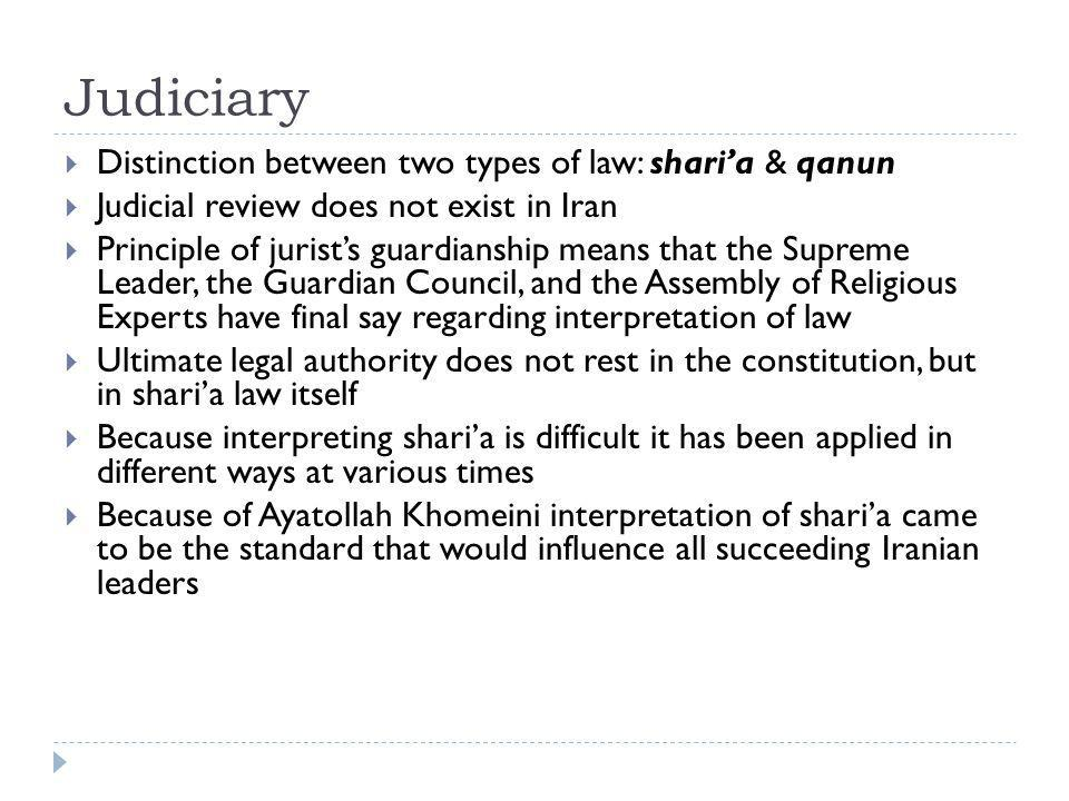 Judiciary Distinction between two types of law: shari'a & qanun