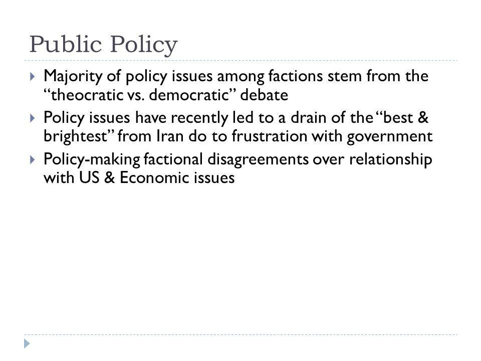 Public Policy Majority of policy issues among factions stem from the theocratic vs. democratic debate.