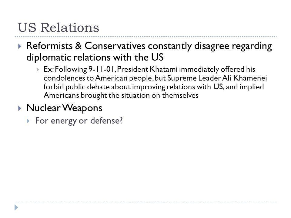 US Relations Reformists & Conservatives constantly disagree regarding diplomatic relations with the US.