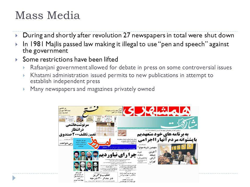 Mass Media During and shortly after revolution 27 newspapers in total were shut down.