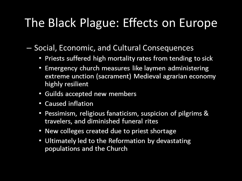 The Black Plague: Effects on Europe