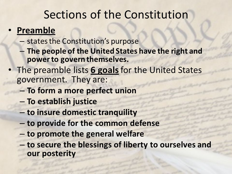 Sections of the Constitution
