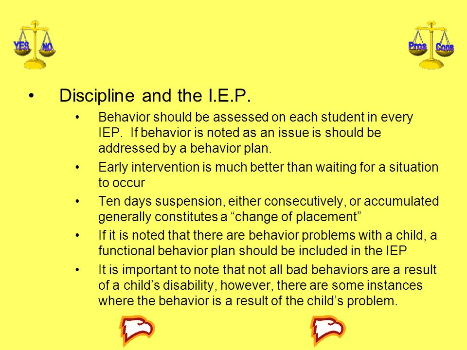 Discipline and the I.E.P.