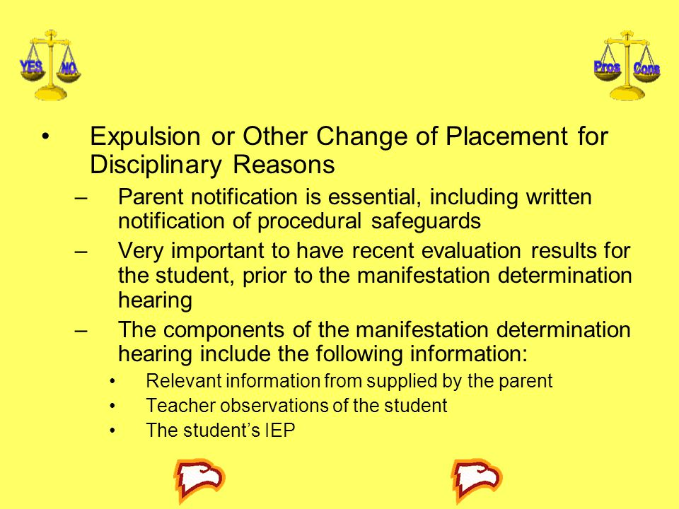 Expulsion or Other Change of Placement for Disciplinary Reasons