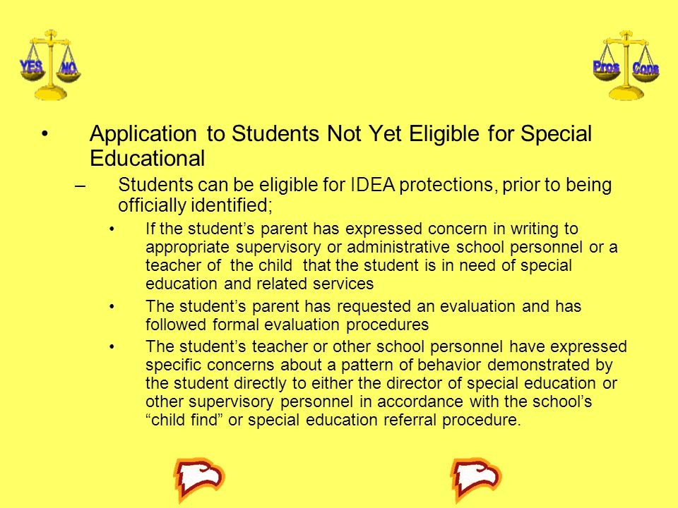 Application to Students Not Yet Eligible for Special Educational