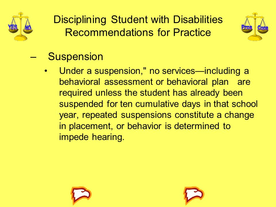 Disciplining Student with Disabilities Recommendations for Practice