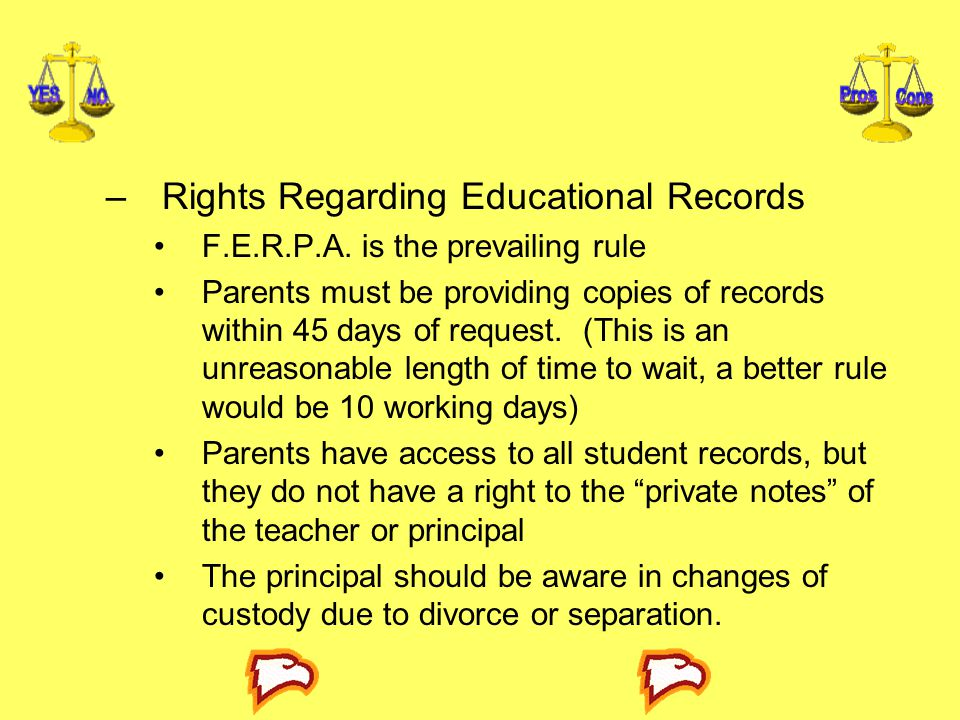 Rights Regarding Educational Records