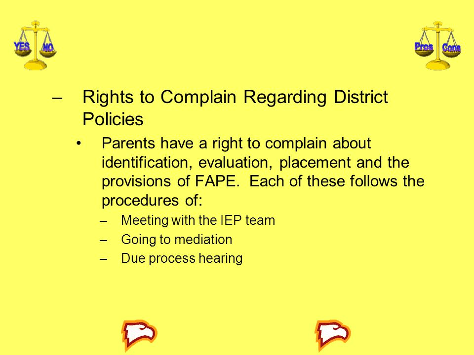 Rights to Complain Regarding District Policies