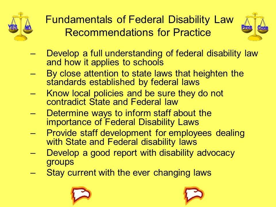 Fundamentals of Federal Disability Law Recommendations for Practice