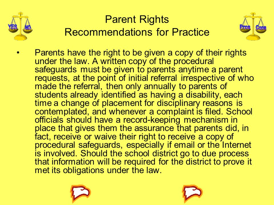 Parent Rights Recommendations for Practice