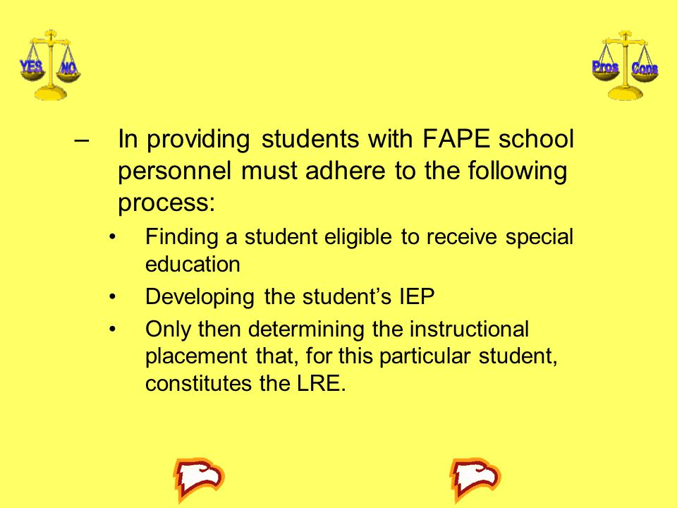 In providing students with FAPE school personnel must adhere to the following process: