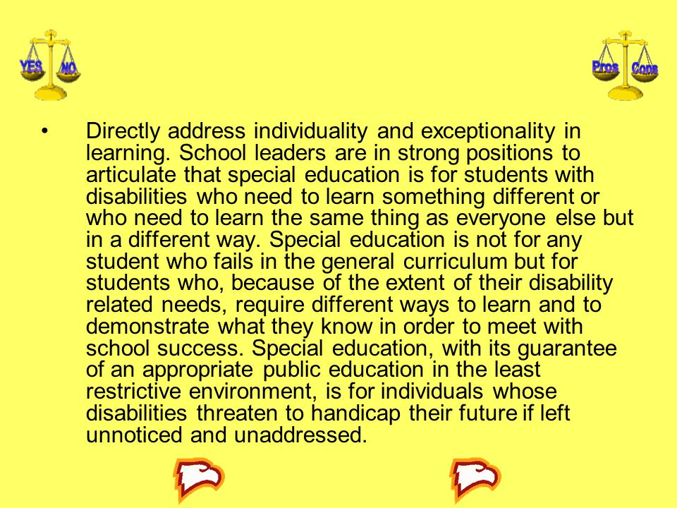 Directly address individuality and exceptionality in learning