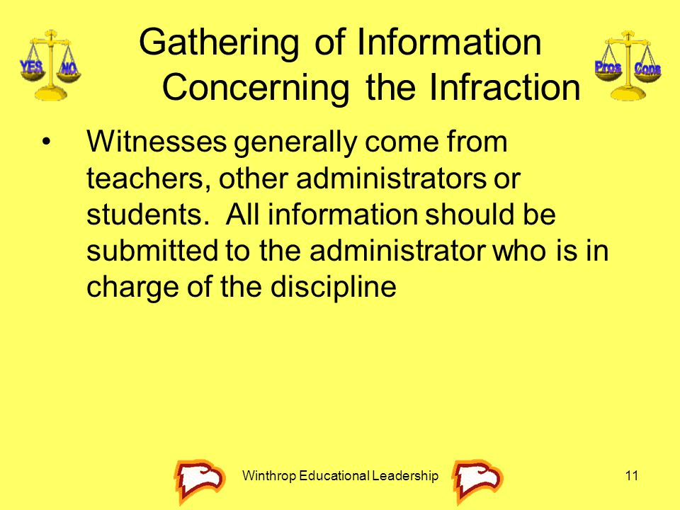 Gathering of Information Concerning the Infraction