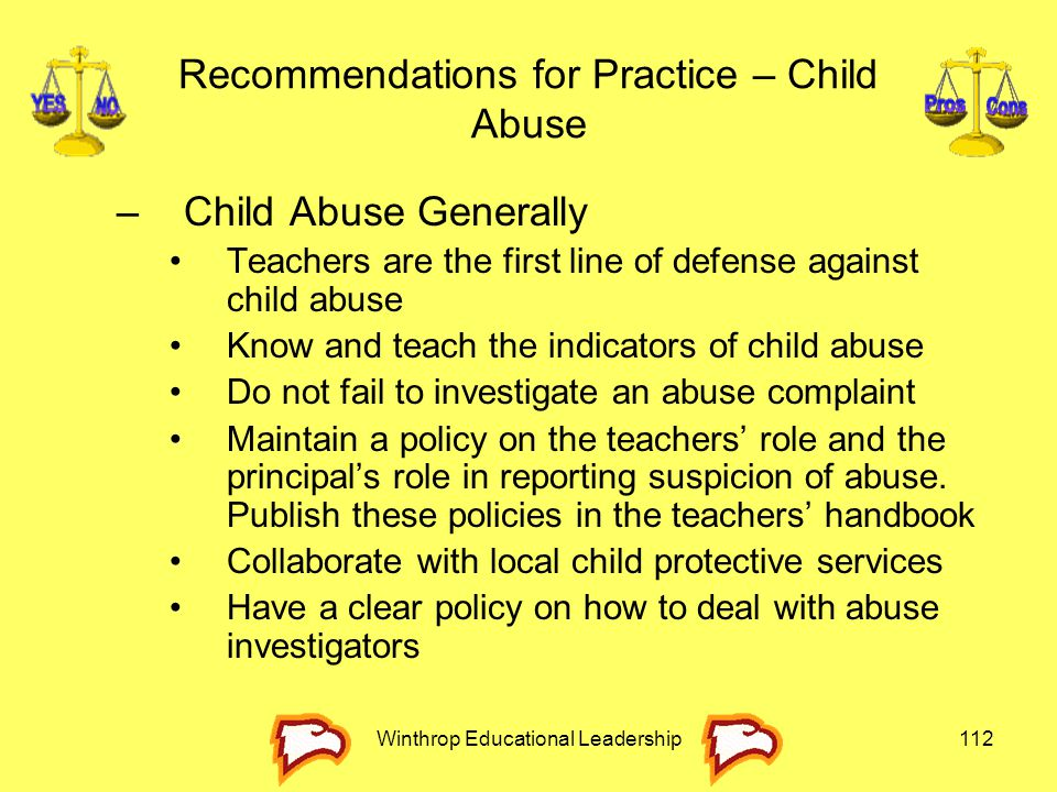 Recommendations for Practice – Child Abuse
