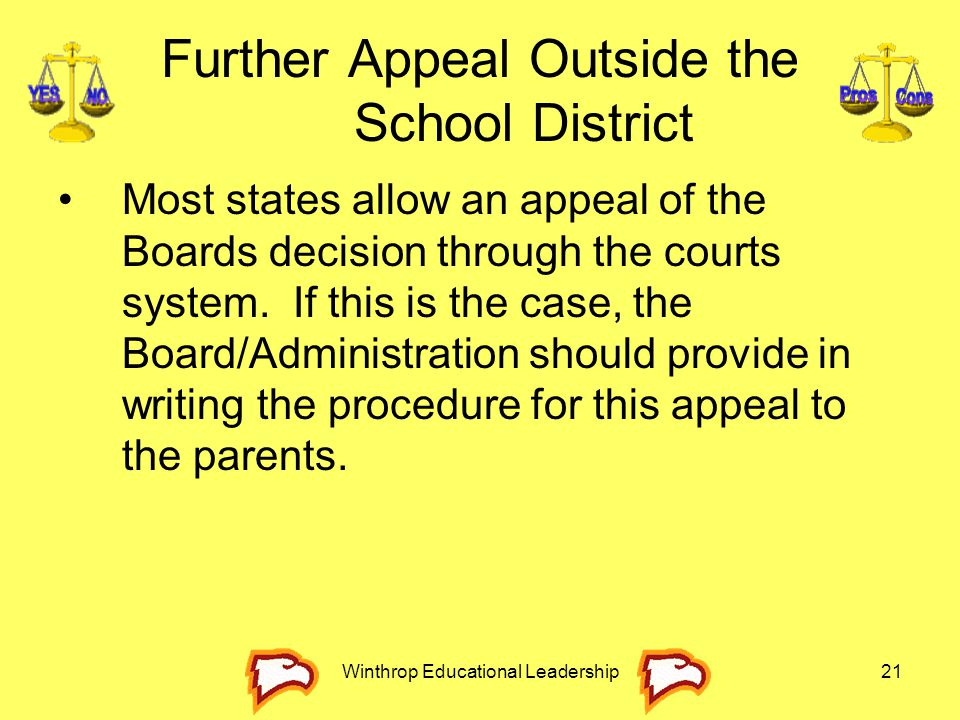 Further Appeal Outside the School District