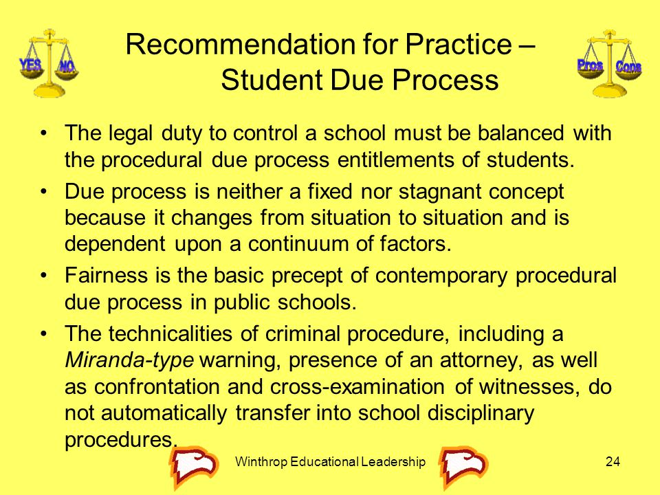 Recommendation for Practice – Student Due Process