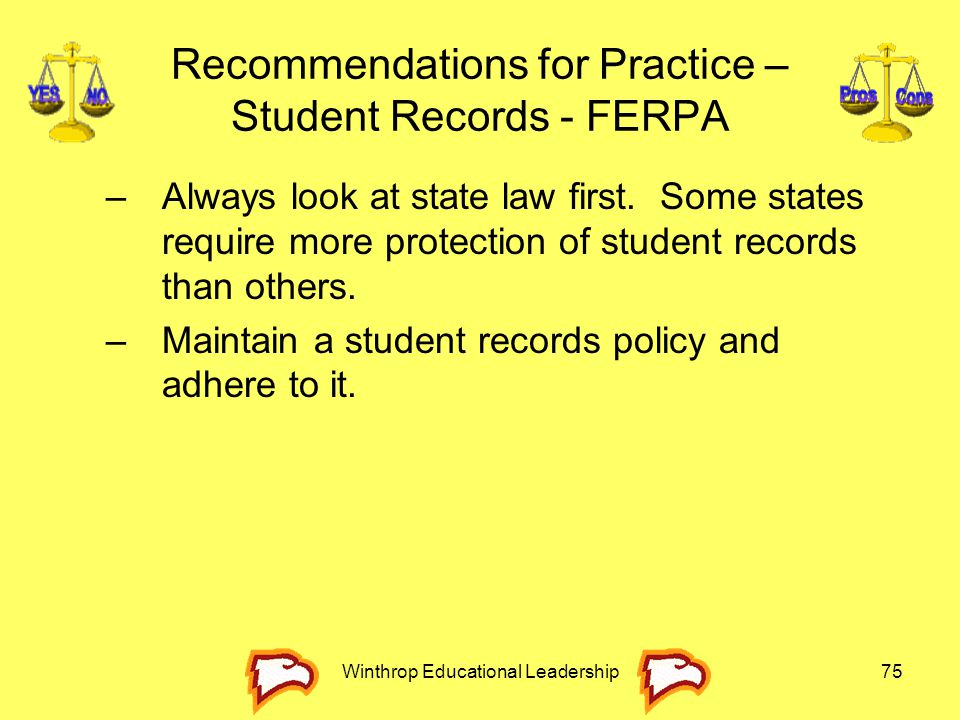 Recommendations for Practice – Student Records - FERPA