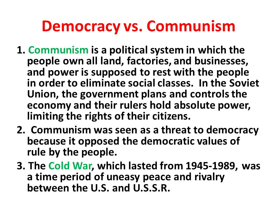 Democracy vs. Communism