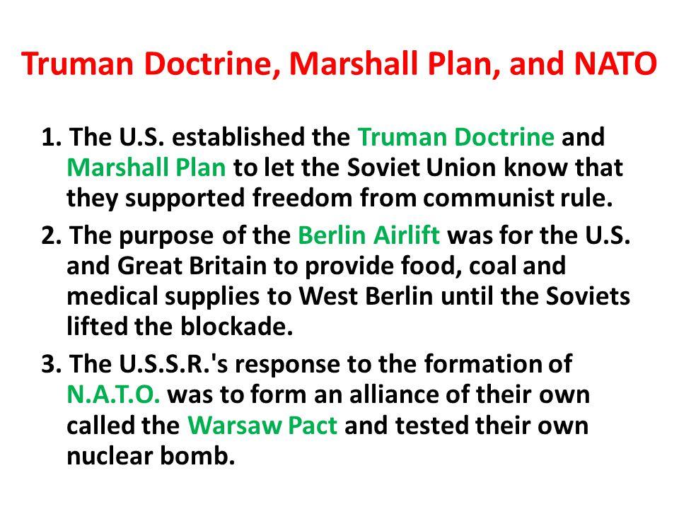 Truman Doctrine, Marshall Plan, and NATO