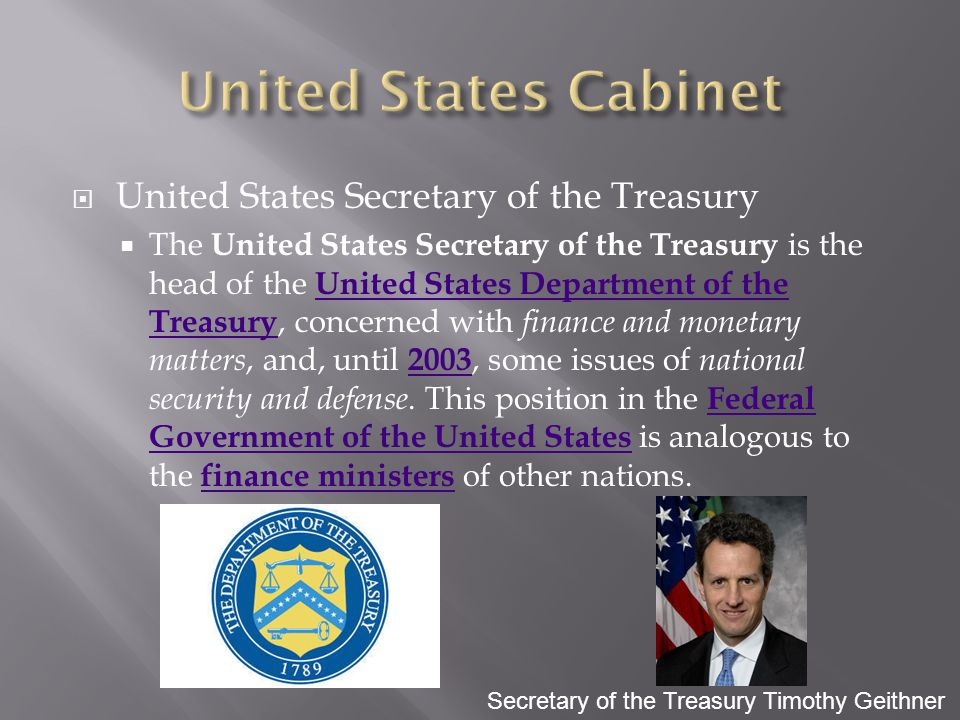 United States Cabinet United States Secretary of the Treasury