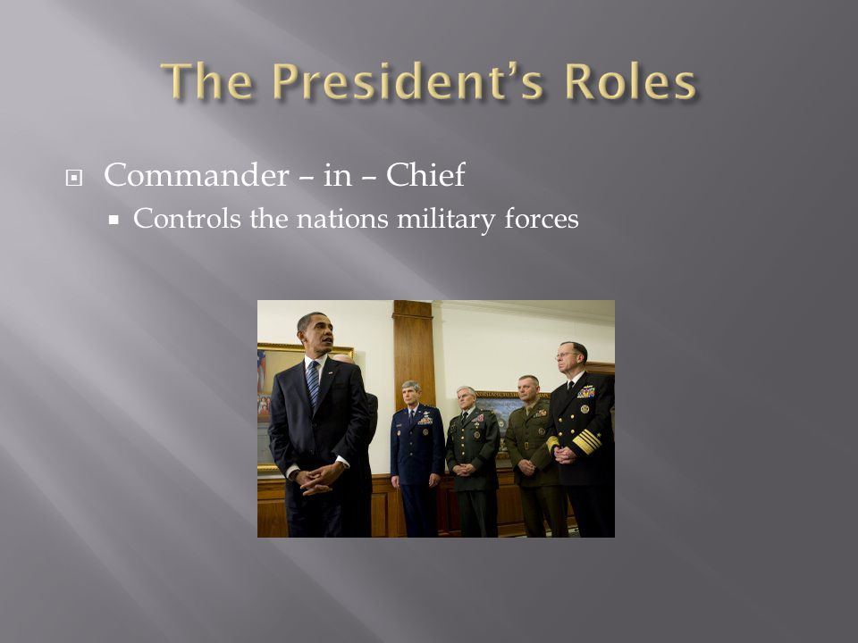 The President's Roles Commander – in – Chief