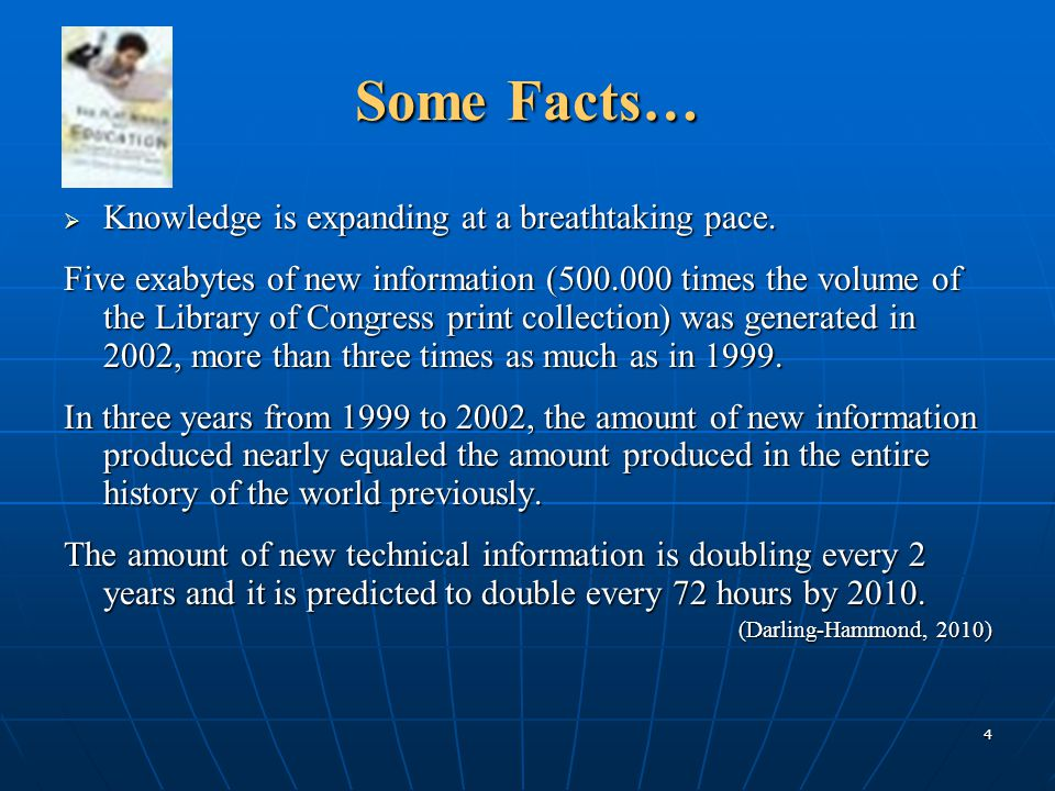 Some Facts… Knowledge is expanding at a breathtaking pace.