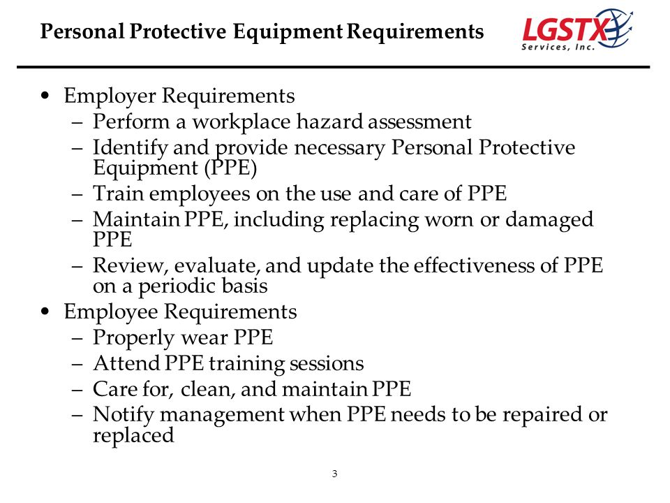 Personal Protective Equipment Requirements