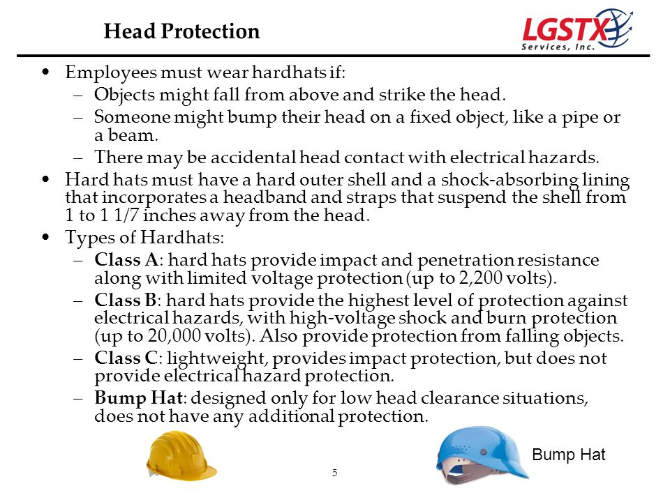 Head Protection Employees must wear hardhats if: