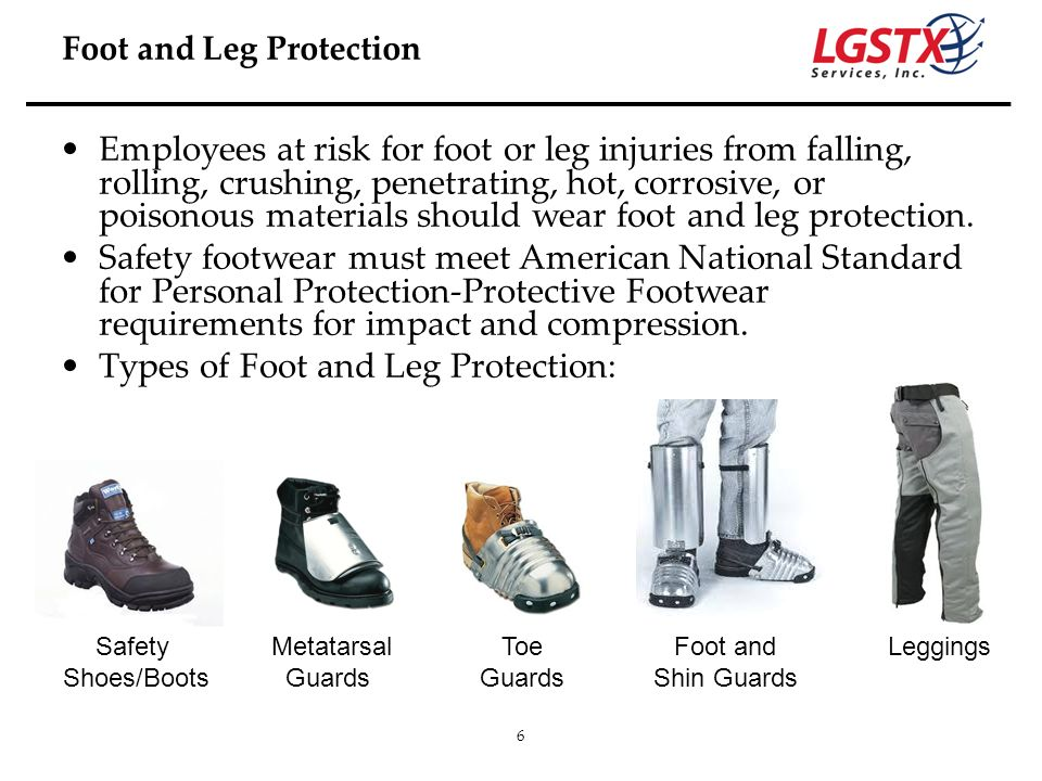 Types of Foot and Leg Protection: