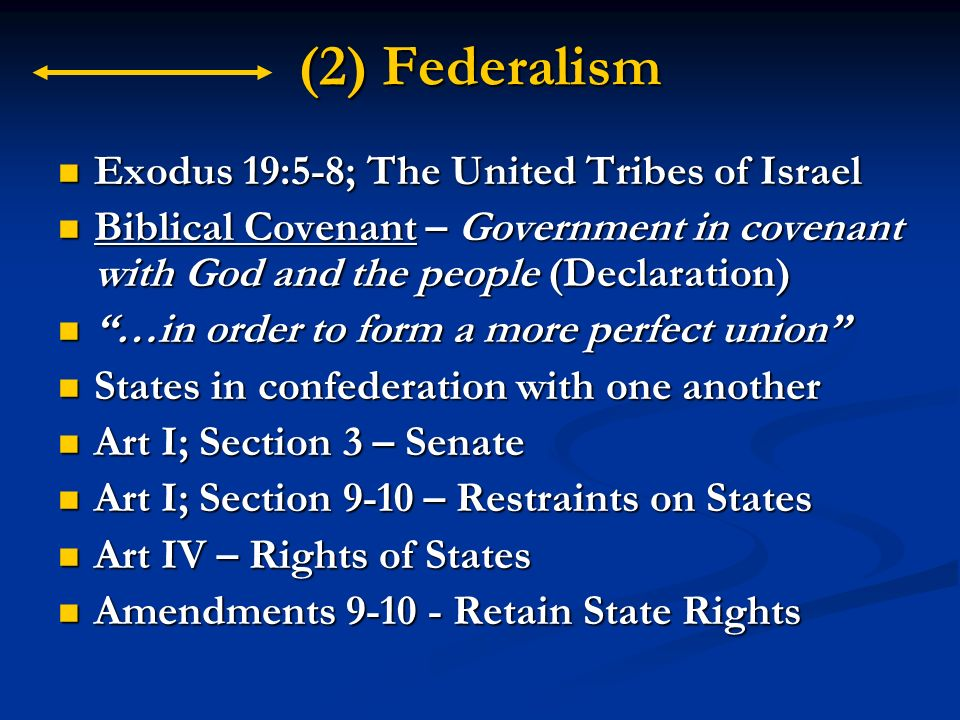 (2) Federalism Exodus 19:5-8; The United Tribes of Israel