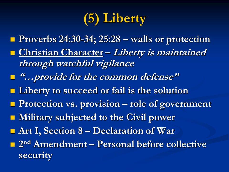 (5) Liberty Proverbs 24:30-34; 25:28 – walls or protection