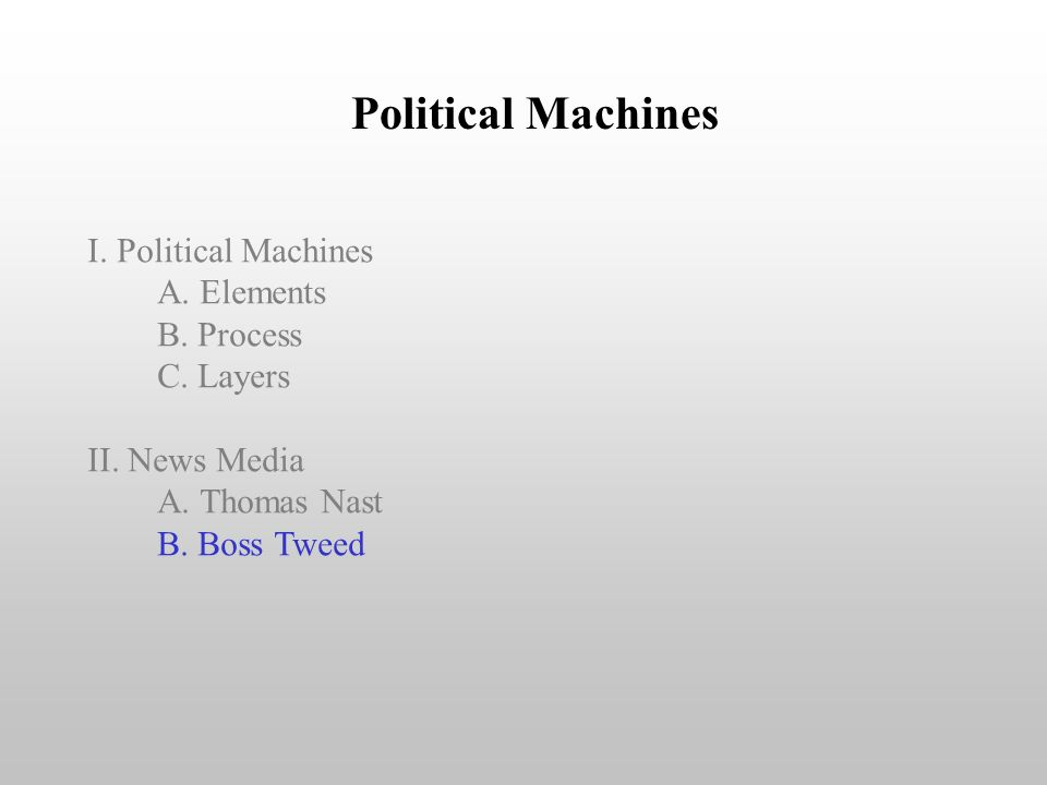 Political Machines I. Political Machines A. Elements B. Process