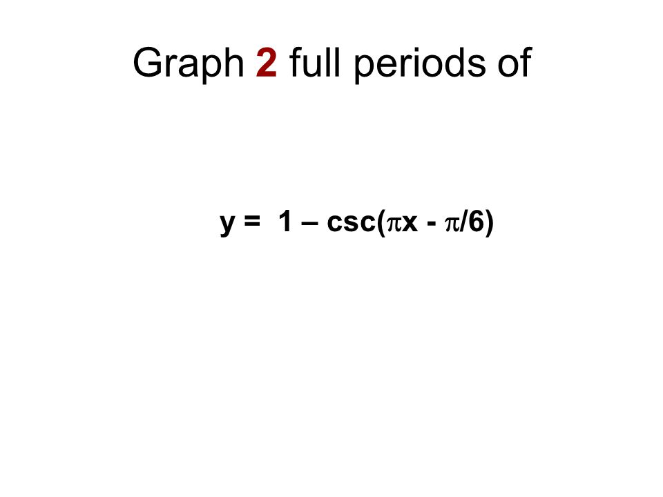Graph 2 full periods of y = 1 – csc(x - /6)
