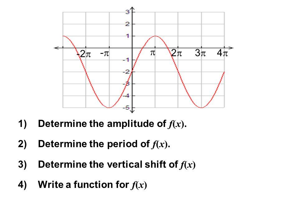  2 3 4 - -2 Determine the amplitude of f(x). Determine the period of f(x). Determine the vertical shift of f(x)