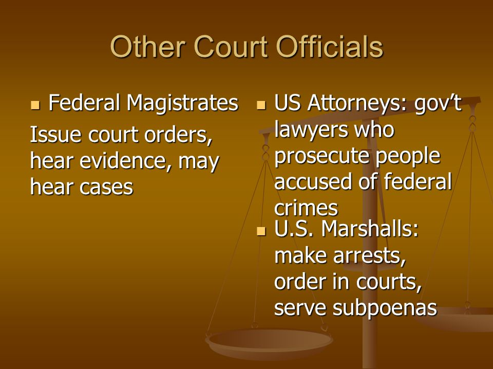 Other Court Officials Federal Magistrates