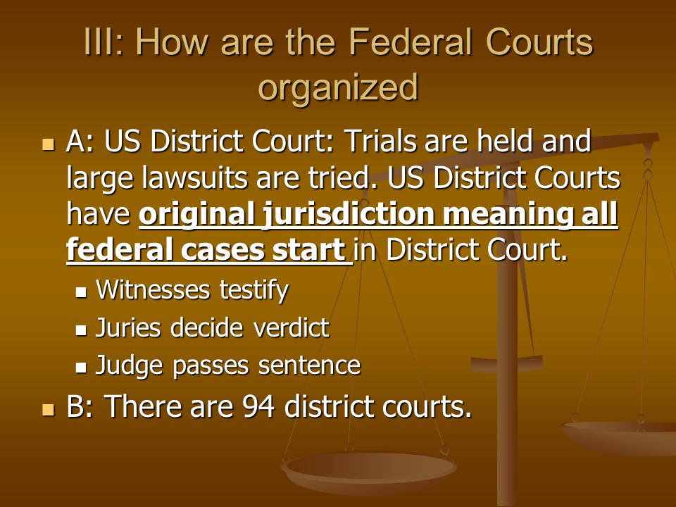 III: How are the Federal Courts organized