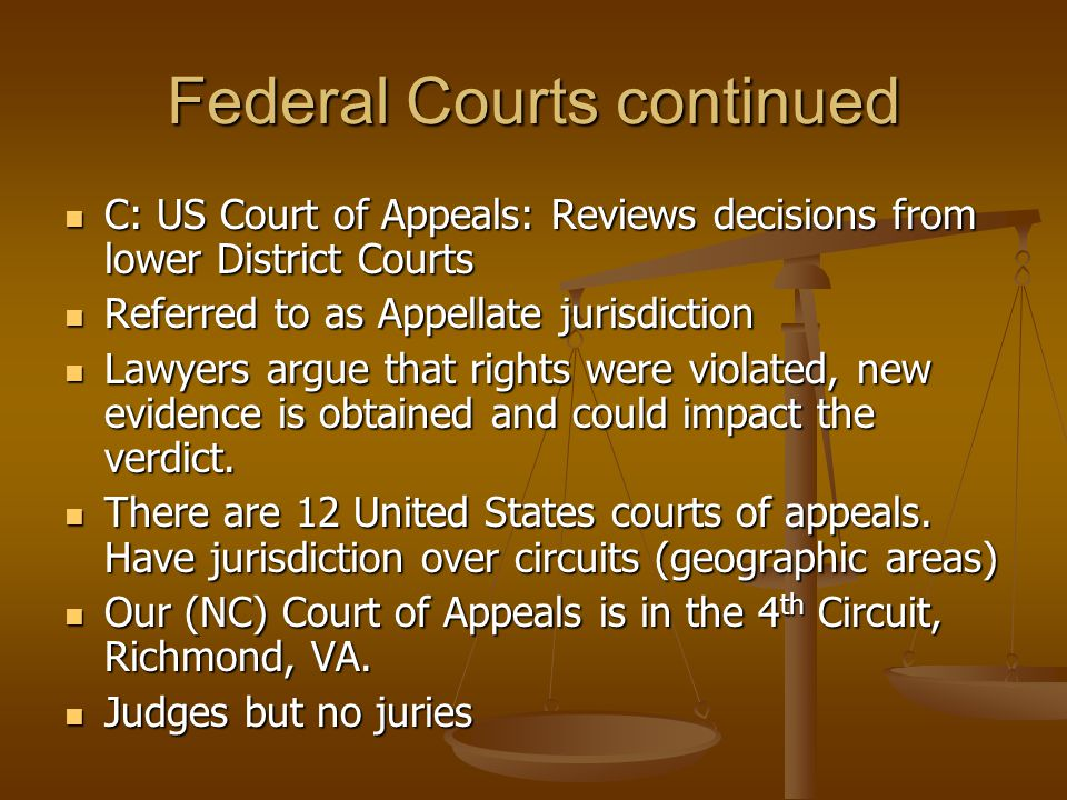 Federal Courts continued