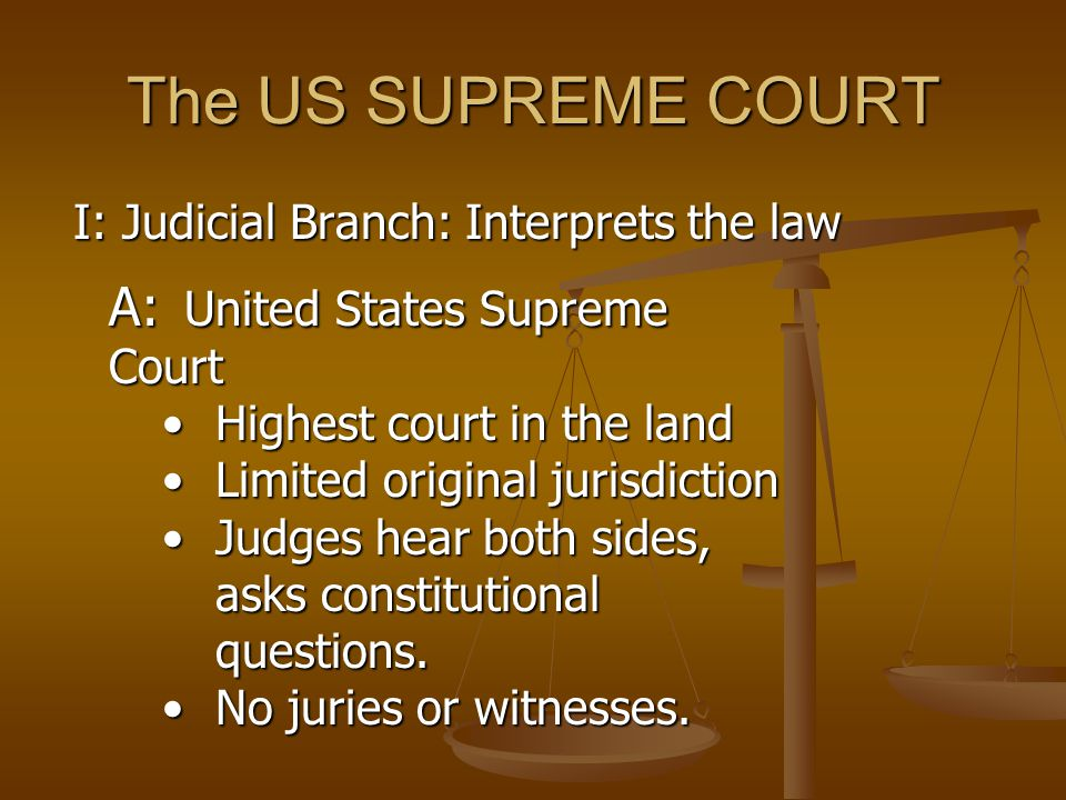 The US SUPREME COURT A: United States Supreme Court